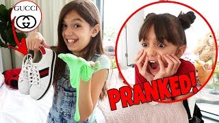 I RUINED My Sister's GUCCI Shoes with Slime PRANK!