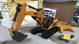 RC EXCAVATOR UNBOXING HUINA 1550/550 MODIFIED // Video for children/ kids / kid toy tv
