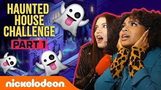 Daniella & Lilimar FREAK OUT in the Haunted House Challenge Pt. 1 👻 | Nick
