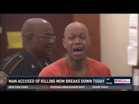 Son accused of killing mother breaks down in court