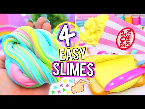 4 Easy DIY Slime Ideas! How To Make VIRAL SLIMES!