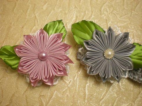 КАНЗАШИ. Повязка для Волос.ЦВЕТЫ из Лент Своими руками . / Flower. /Kanzashi./ DIY. /Tutorial