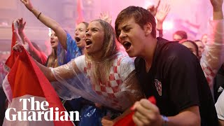 Fans in Zagreb celebrate Ivan Perisic's goal for Croatia against England