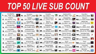 TOP 50 YouTube Sub Count 24/7 LIVE: PewDiePie VS T-Series, MrBeast & More!