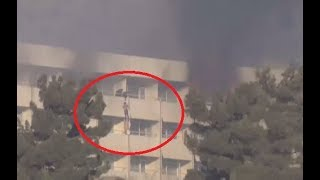 Hostages use bed sheets to flee besieged & burning Kabul Intercontinental Hotel