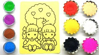 Kids Sand Painting | Kids Coloring Page with Colored Sands | Sand Painting art for Kids