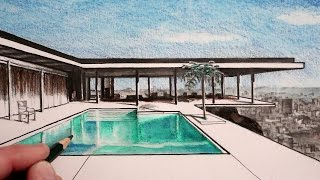 How to Draw a House in Perspective: The Stahl House: Narrated