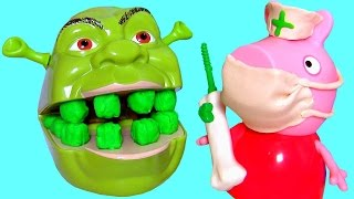 Nurse Peppa Pig Fix Shrek's Rotten Root Canal using Play-Doh Doctor Drill 'N Fill