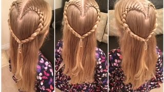 Cute Valentines Braided Heart Hairstyle by Two Little Girls Hairstyles