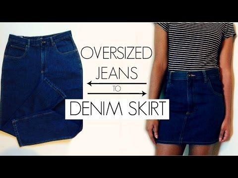 DIY Oversized Jeans to Denim Skirt