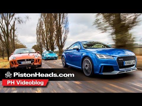 Audi TT RS v Porsche 718 Cayman S v Jaguar F Type Coupe S PH videoblog PistonHeads