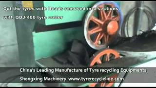 Tyre recycling: cutting waste tyres with tyre cutter