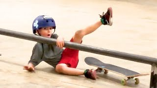 6 YEAR OLD SLAMS ON HIS SKATEBOARD! ( More Than Once!)