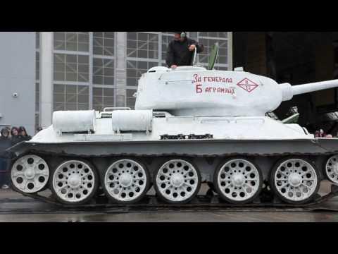 Soviet T 34 tank and FlaK 88mm guns