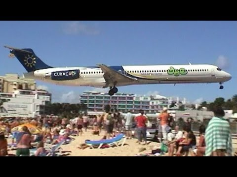 Amazing Plane landing and take off footage at Maho Beach St Maarten