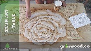 Wood Stain Artwork on Oak Table Top - Timelapse