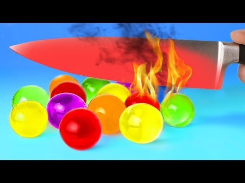 EXPERIMENT Glowing 1000 degree KNIFE VS 15 OBJECTS Orbeez Crayons Sour Candy and Toys SATISFYING