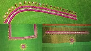 hand embroidery tutorial for beginners | blouse embroidery designs tutorial