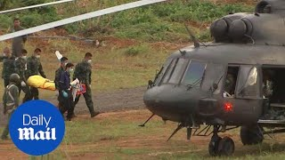 First footage of two Thai football boys air lifted to hospital