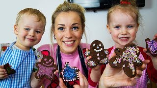 Gaby and Alex bakes Christmas Cookies! Funny kids and Real Food