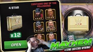 MASSIVE 4 STAR LOOTCASE OPENING!! 12 NEW SUPERSTARS!   WWE Mayhem
