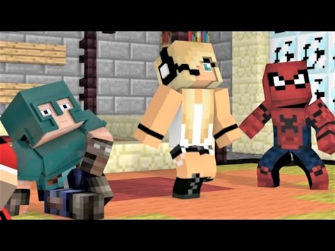 MINECRAFT SONG SERIES Nemesis Part 1 2 Spiderman Psycho Girl Little Square Face and Batman