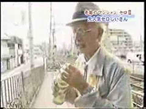 grandpa doin some magic in japan on a japanese subway & park