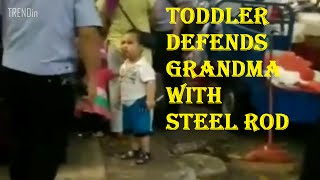 little kid picked up STEEL pipe to defend her grandma in CHINA