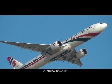 Biman Bangladesh Boeing 777-3E9(ER) landing & takeoff from Rome FCO