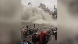 Video footage shows water pipe bursts in E China municipality, shooting tons of water into the air