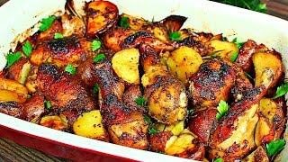 One Pan Roasted Chicken and Potatoes Recipe - Easy Delicious Roasted Chicken and Potatoes