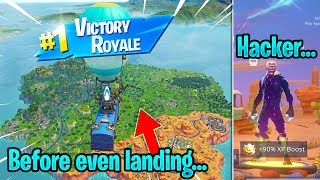 REAL Fortnite Hacker DRIVES the BATTLE BUS and gets me WINS every 1 second... (UNRELEASED SKINS)