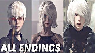 Nier Automata - All Main Endings & True Ending (A, B, C, D, E)