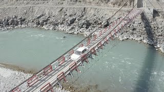 DRONE FLY OVER VILLAGES, RIVERS AND BRIDGES OF GILGIT BALTISTAN- PAKISTAN