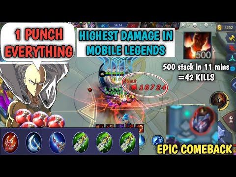 1 HIT EVERYTHING 500 stack in 11 mins HIGHEST DAMAGE IN MOBILE LEGENDS