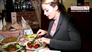 Tasting the food in A passage to india restaurant in ipswich