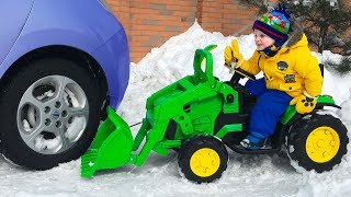 Funny Baby Car Stuck Paw Patrol Ride on Power Wheel Quad bike and Tractor