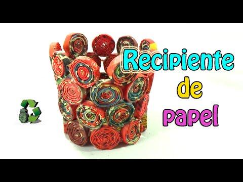 25. Manualidades Cesta de papel Reciclaje Ecobrisa.