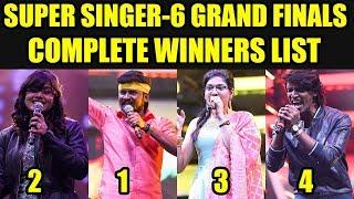 Super Singer-6 Complete Winners List | Super Singer Grand Finals Winners