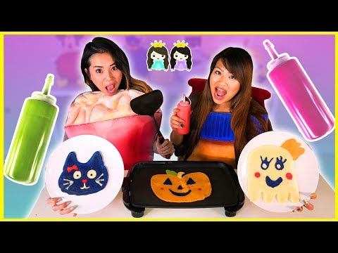 PANCAKE ART CHALLENGE Halloween Edition with Princess ToysReview