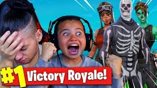 if 9yr old brother wins this solo game I DELETE ALL MY SKINS! OMG DID HE REALLY WIN? - FORTNITE BR