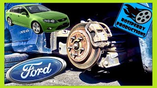 Ford Flacon XR6 Rear Brakes Brake Pad Replacement How To Tutorial, DIY, FG BF