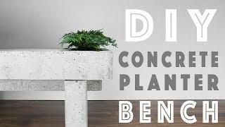 DIY Modern Concrete Bench   Built-In Planters