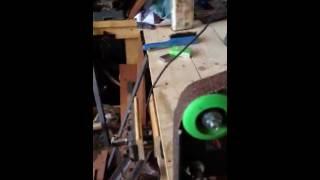 Small DIY homemade no welding 1x42 belt grinder