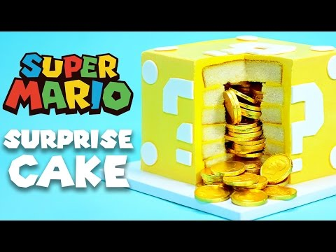 MARIO QUESTION BLOCK SURPRISE CAKE - NERDY NUMMIES