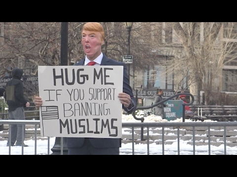 HUG ME IF YOU SUPPORT BANNING MUSLIMS Social Experiment