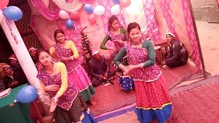 Charwahe nache jhoom k,Tharu girls dancing in chirstmas eve