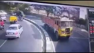 motorcyclist fly over median crush truck | firefighting