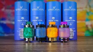 Vandy Vape Triple V2 RTA-All Colors + Retail Packaging + Giveaway! Designed by VapingwithTwisted419