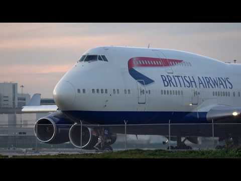 4K British Airways BA 284 747 400 Very Rare Takeoff from 1R at SFO Video